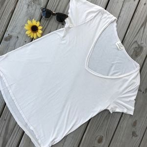 Project Social T White V-Neck Tee NWOT